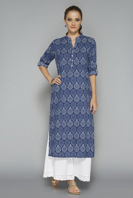 Utsa by Westside Dark Blue Block Print Kurta