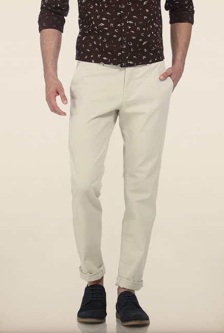 Basics Tapered Fit White Stone Peached Twill Stretch Trouser