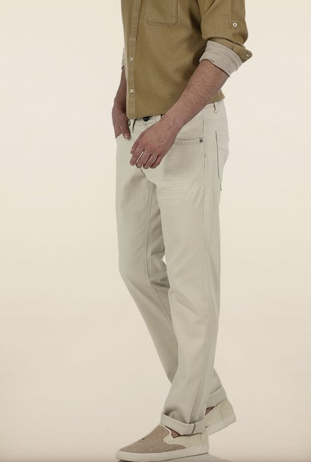 Basics Skinny Fit Cream Stone Ladder Twill Stretch Trouser