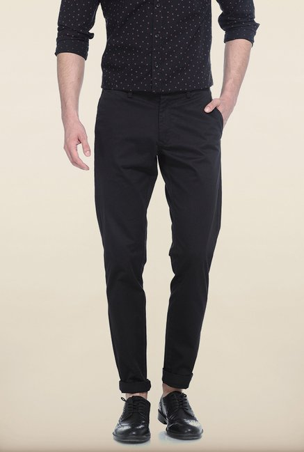 Basics Tapered Fit Iris Black Dobby Stretch Trouser