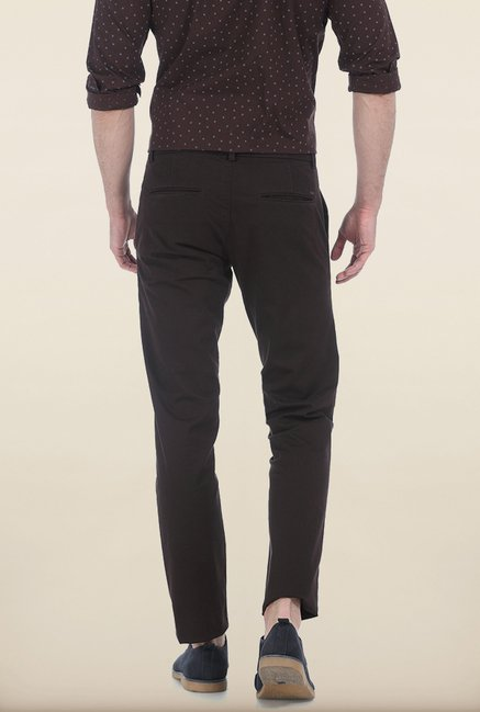 Basics Tapered Fit Coffee Bean Dobby Peached Stretch Trouser