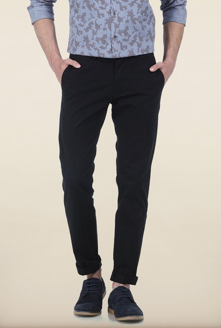 Basics Tapered Fit Black Dobby Peached Stretch Trouser