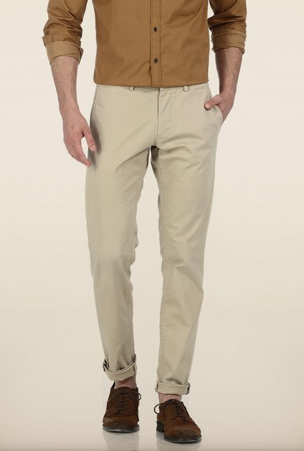 Basics Tapered Fit Sand Shell Dobby Peached Stretch Trouser