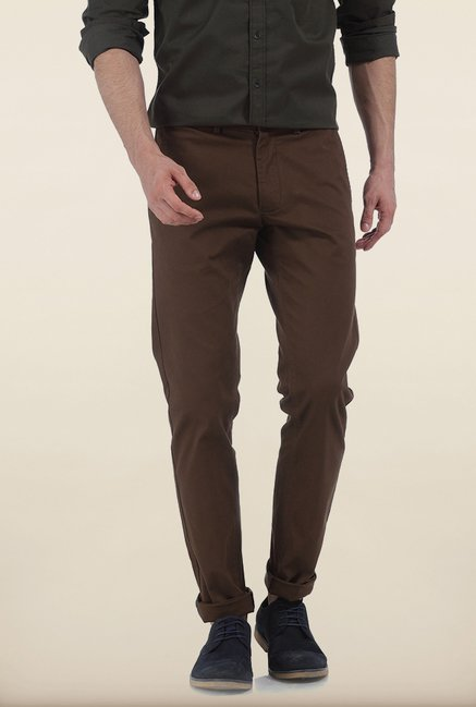 Basics Tapered Fit Dark Earth Dobby Peached Stretch Trouser