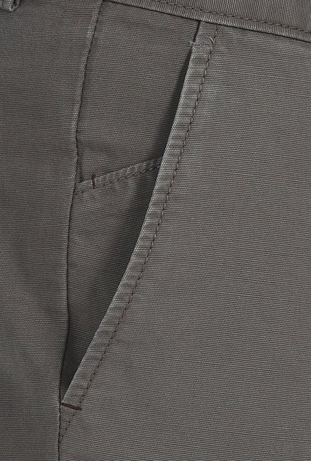 Basics Slim Fit Grey Matt Weave Cotton Trouser