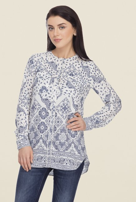 Femella Blue Printed Shirt