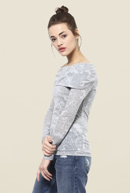 Femella Grey Floral Print Top