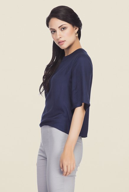 Femella Navy Solid Top