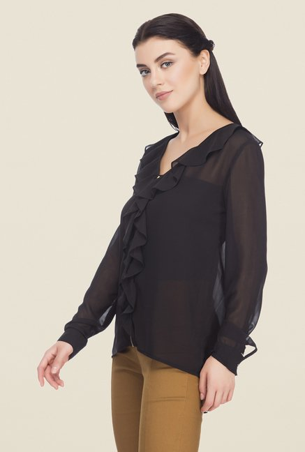 Femella Black Solid Shirt
