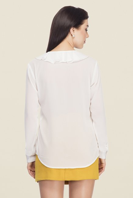 Femella White Solid Shirt