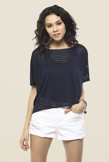 Femella Navy Striped Top