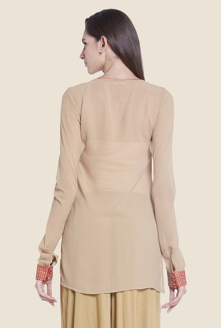 Globus Beige Regular Fit Kurti