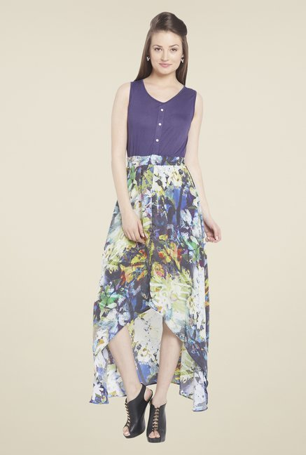 Globus Purple Floral Print Midi Dress