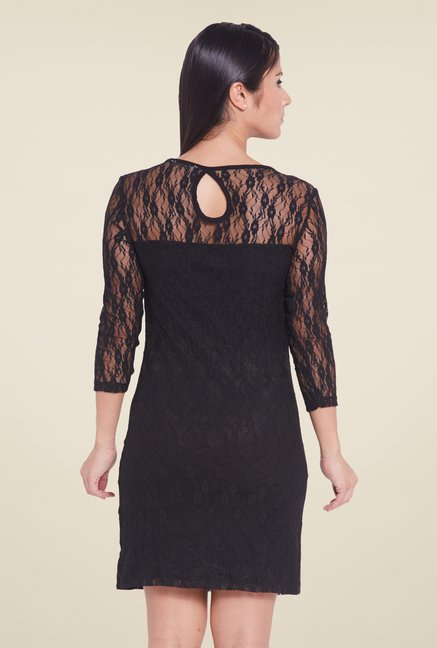 Globus Black Self Print Dress