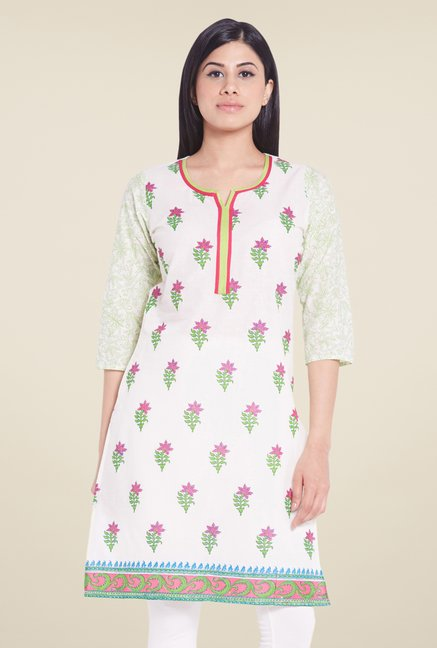 Globus White Block Print Cotton Kurti