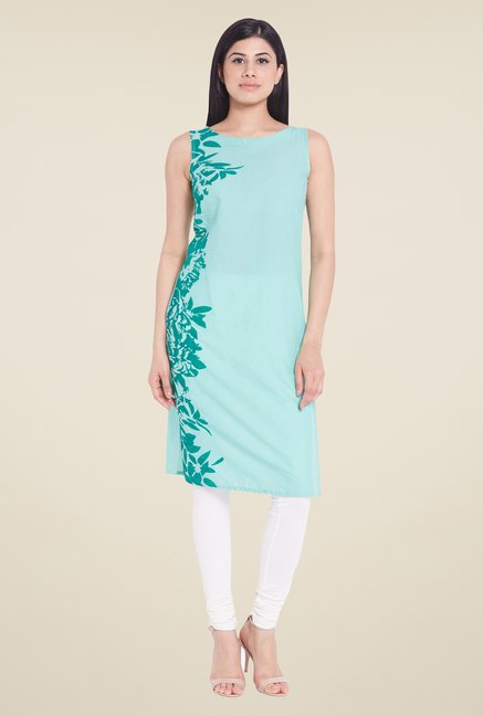 Globus Teal Solid Cotton Kurti