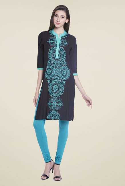 Globus Black Cotton Regular Fit Kurti