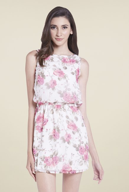 Globus White Floral Blouson Dress