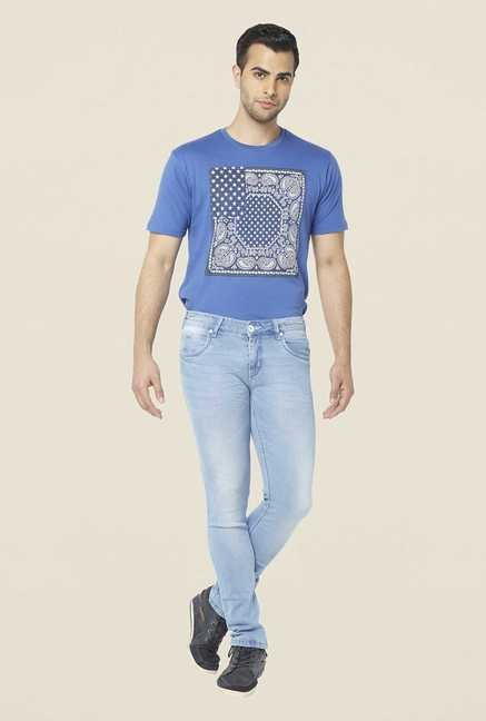 Globus Ice Blue Lightly Washed Regular Jeans