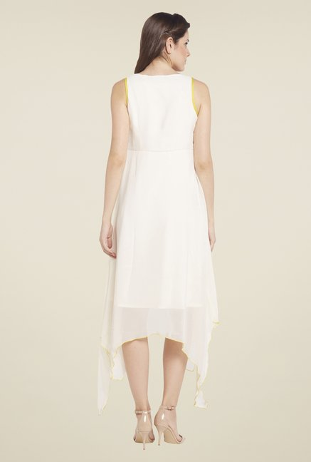 Globus White High Low Embroidered Dress