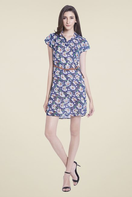Globus Blue Floral Print Mini Dress