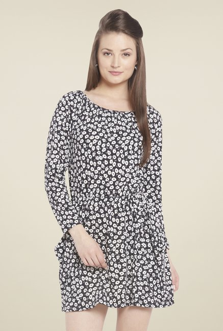 Globus Black Floral Print Mini Dress