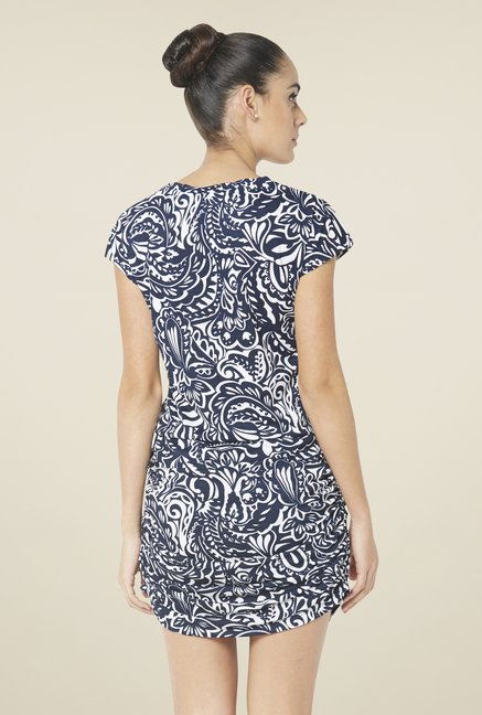 Globus Navy Printed Blouson Dress