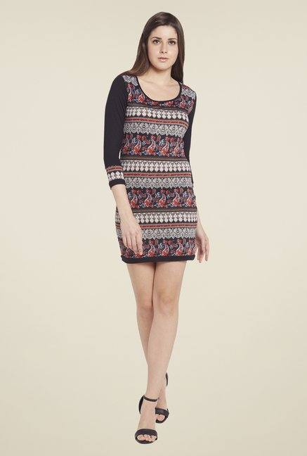 Globus Black Printed Dress