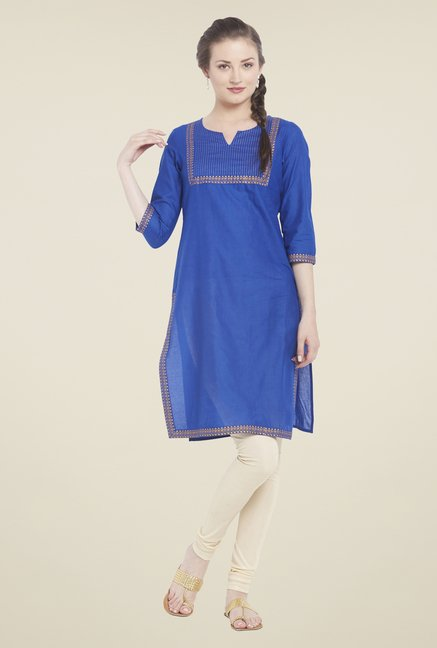 Globus Blue Solid Cotton Kurti