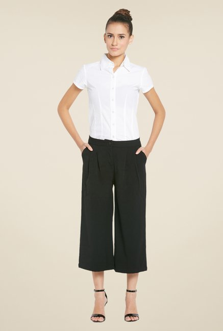 Globus Black Solid Polyester Culottes