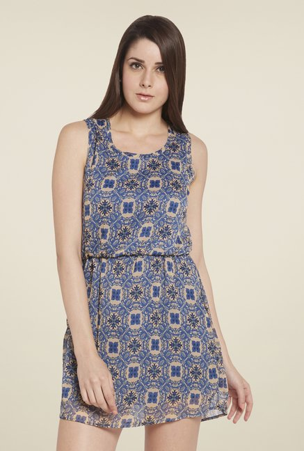 Globus Blue & Beige Printed Blouson Dress