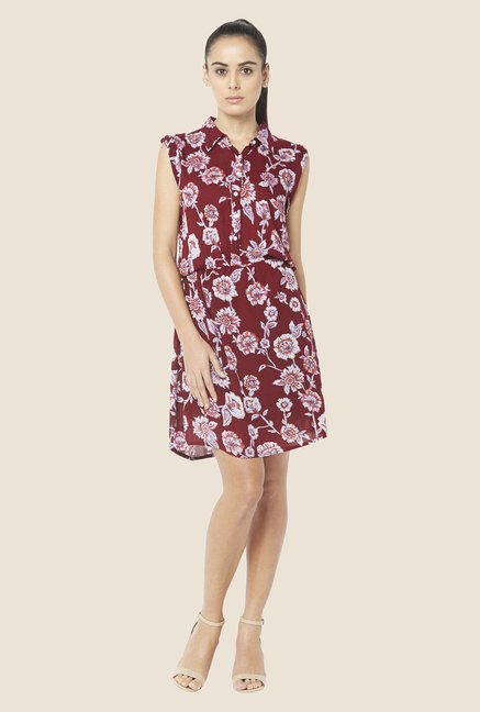 Globus Maroon Blouson Dress