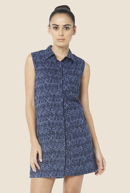 Globus Navy Printed Shirt Dress
