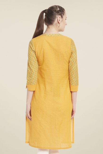 Globus Yellow Regular Fit Kurti