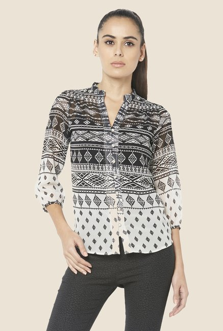 Globus Black & White Printed Shirt