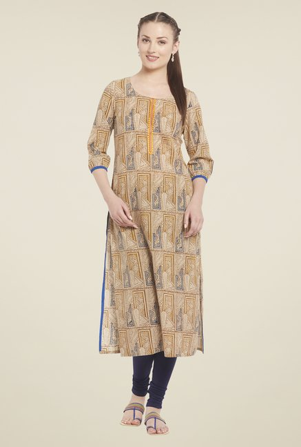 Globus Brown Printed Kurta