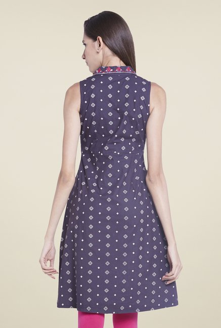 Globus Navy Printed Sleevless Kurti