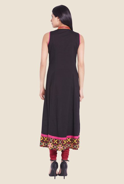 Globus Black Solid Cotton Kurta