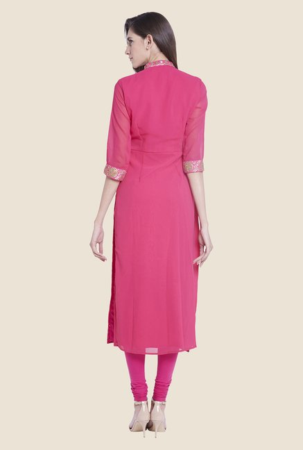 Globus Pink Embroidered Kurta