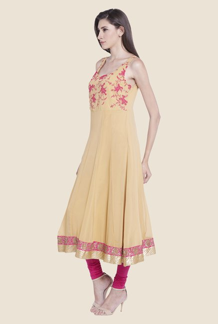 Globus Beige Embroidered Kurta