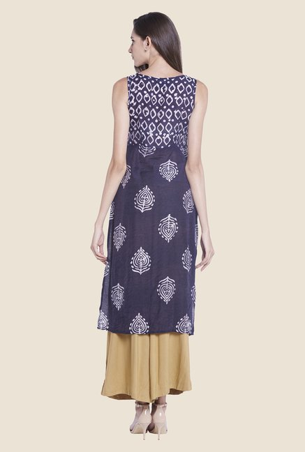 Globus Navy Printed Cotton Kurti
