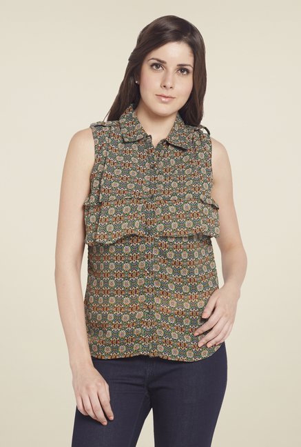 Globus Green Printed Shirt