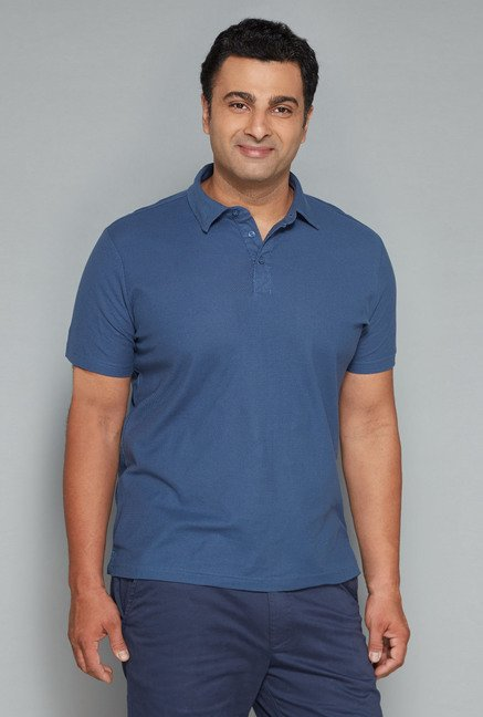Oak & Keel by Westside Navy Solid Polo T Shirt
