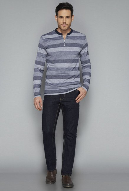 Ascot by Westside Grey Striped Henley T Shirt