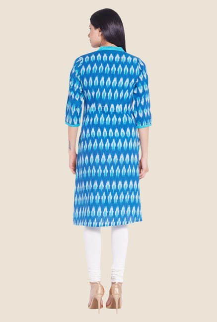 Globus Blue Printed Cotton Kurti