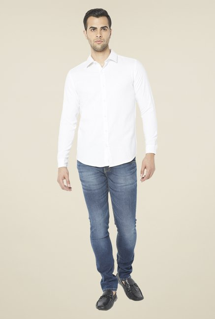 Globus White Solid Full Sleeve Shirt