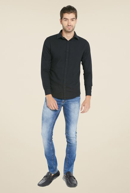 Globus Black Solid Full Sleeve Shirt