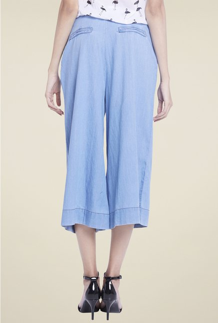 Globus Light Blue Solid Culottes