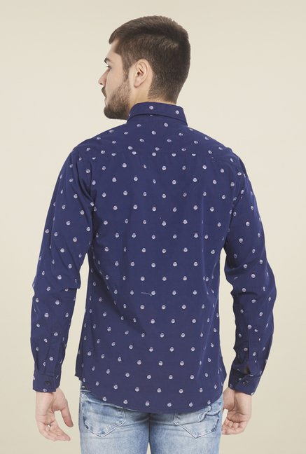 Globus Navy Printed Cotton Shirt