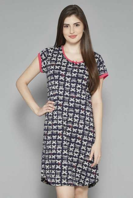 Intima by Westside Navy Printed Nightdress